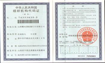 山西平遥曙光国际旅行社有限公司组织机构代码证