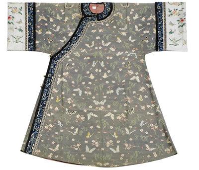 清朝女性衣服手绘图片